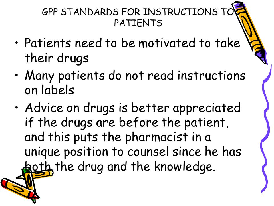 GPP STANDARDS FOR INSTRUCTIONS TO PATIENTS
