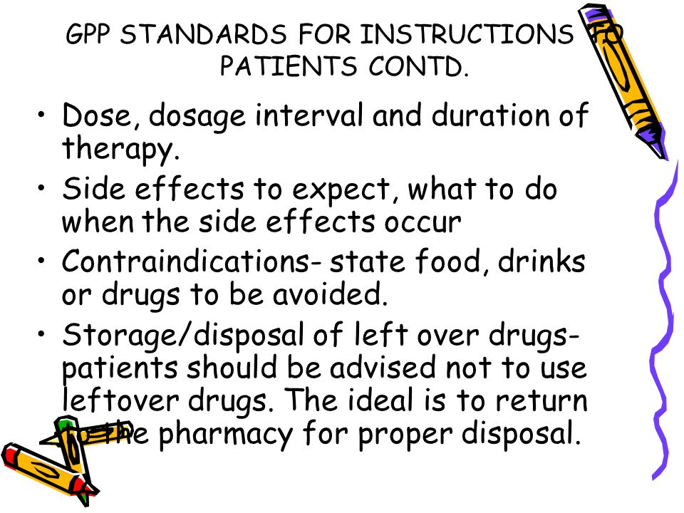 GPP STANDARDS FOR INSTRUCTIONS TO PATIENTS CONTD.