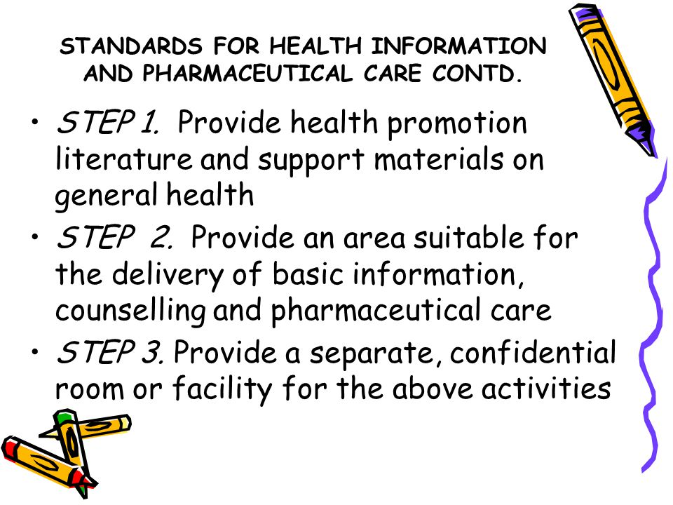 STANDARDS FOR HEALTH INFORMATION AND PHARMACEUTICAL CARE CONTD.