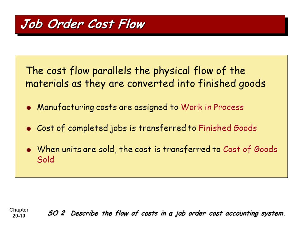 Job Order Cost Flow The cost flow parallels the physical flow of the