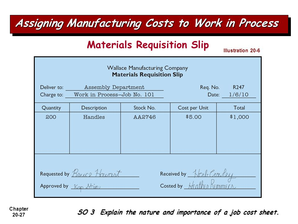 Materials Requisition Slip