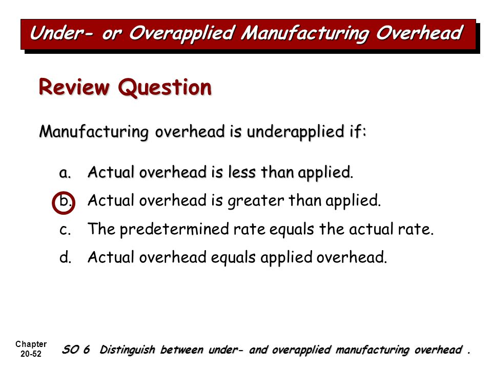 Review Question Under- or Overapplied Manufacturing Overhead