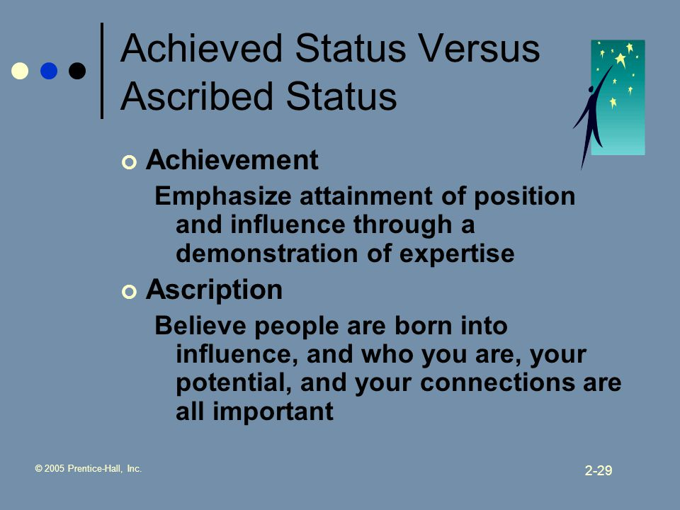 ascribed status and achieved status Your master status is your most important status and people tend to interact being a student is an example of an achieved status (as opposed to an ascribed one.