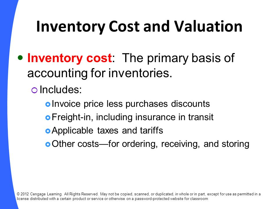 Inventory Cost and Valuation