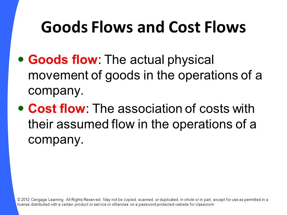 Goods Flows and Cost Flows