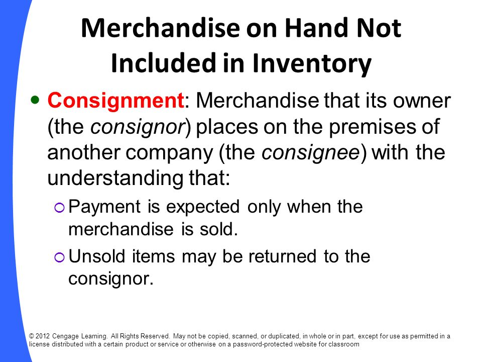 Merchandise on Hand Not Included in Inventory