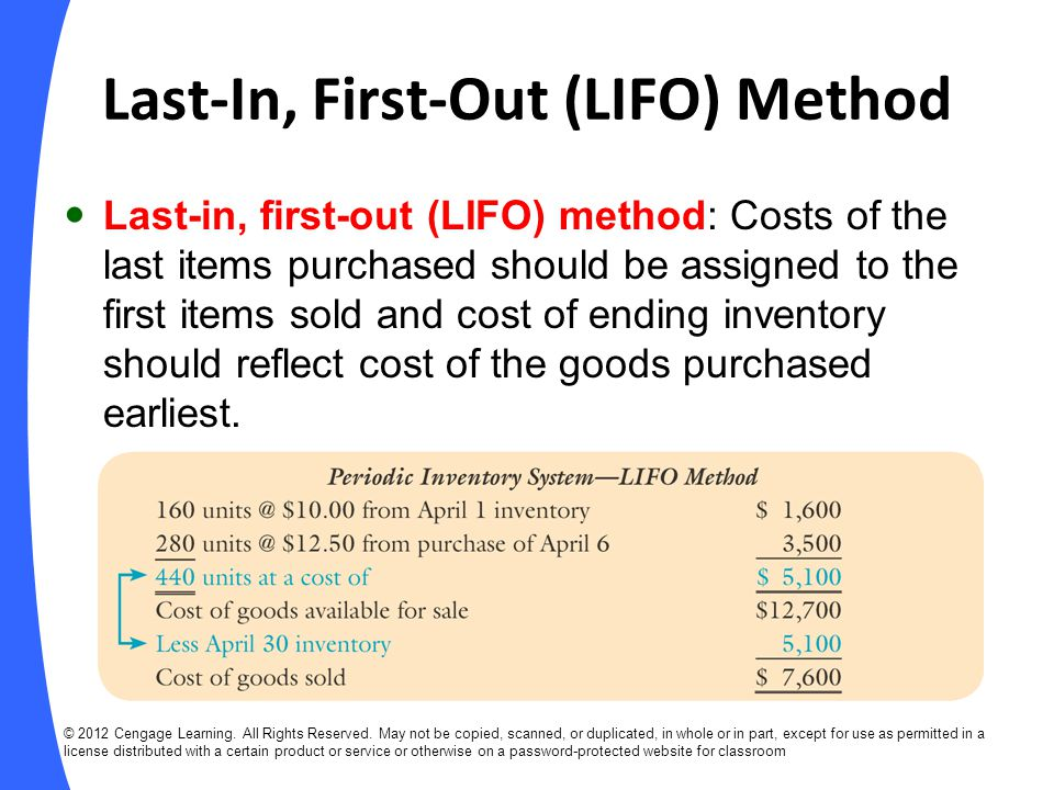 Last-In, First-Out (LIFO) Method