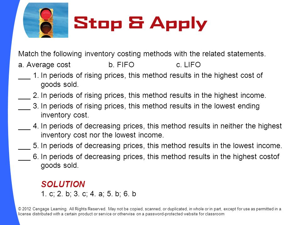 Match the following inventory costing methods with the related statements.