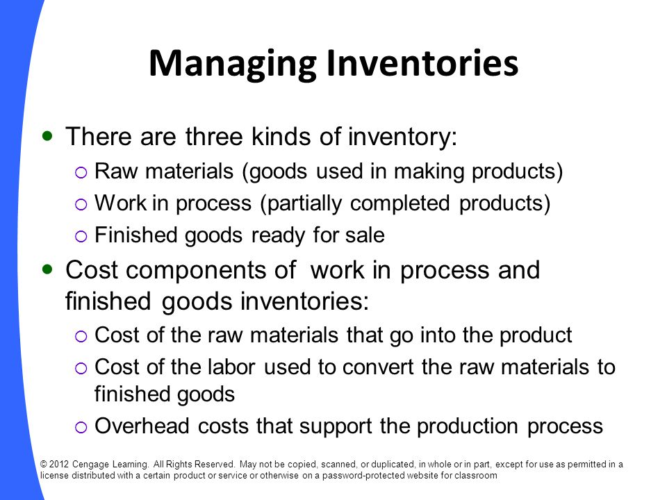 Managing Inventories There are three kinds of inventory: