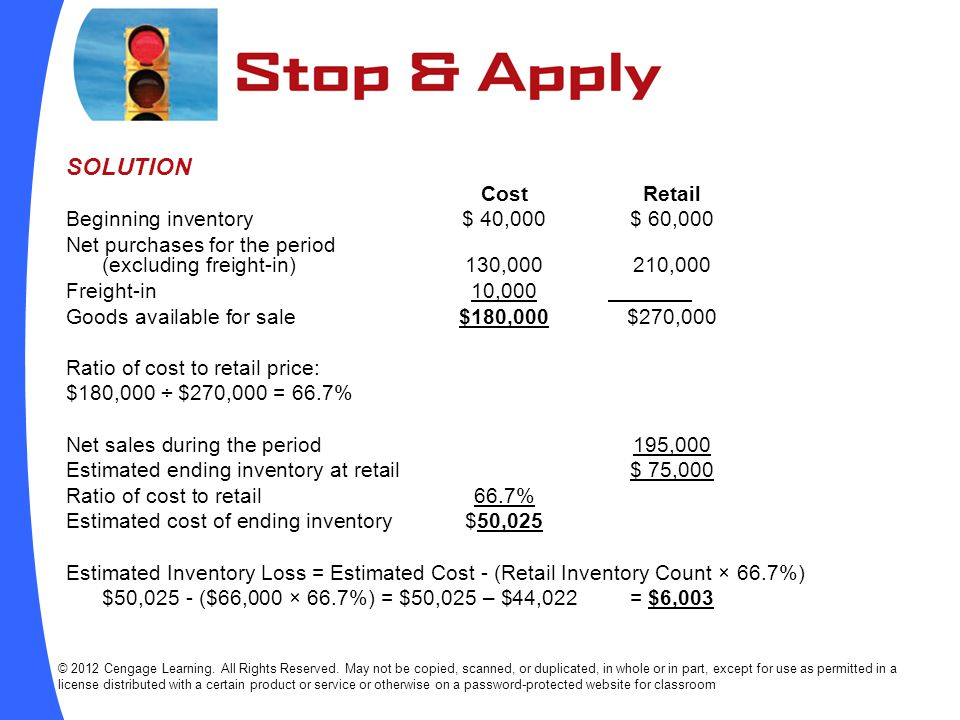 SOLUTION Cost Retail Beginning inventory $ 40,000 $ 60,000