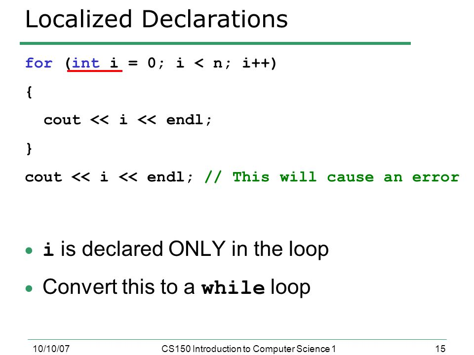 Localized Declarations