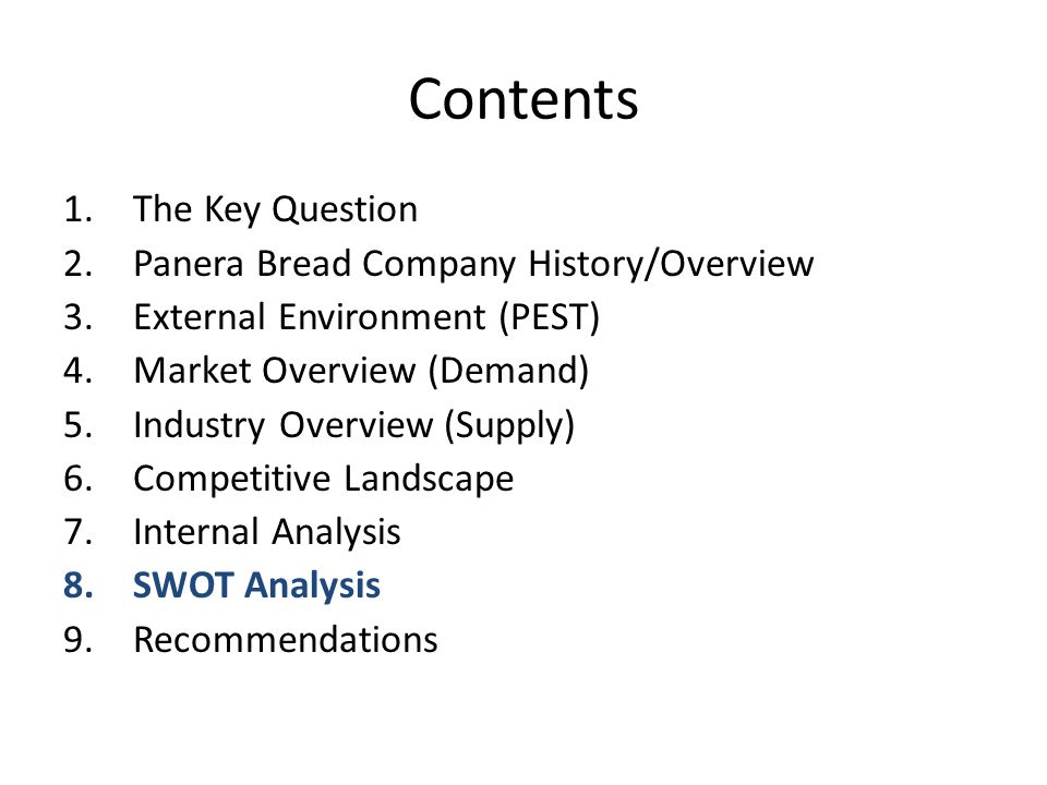 panera bread company analysis April 1, 2014 dr dulek case 2: panera bread grade: 80 table of contents recommendations3-4 appendix a:pestel analysis5-6 appendix b:key recommendation 2: implement more pay-what-you-want bakery-café locations pay-what-you-want bakery-cafes are a great way to boost public.