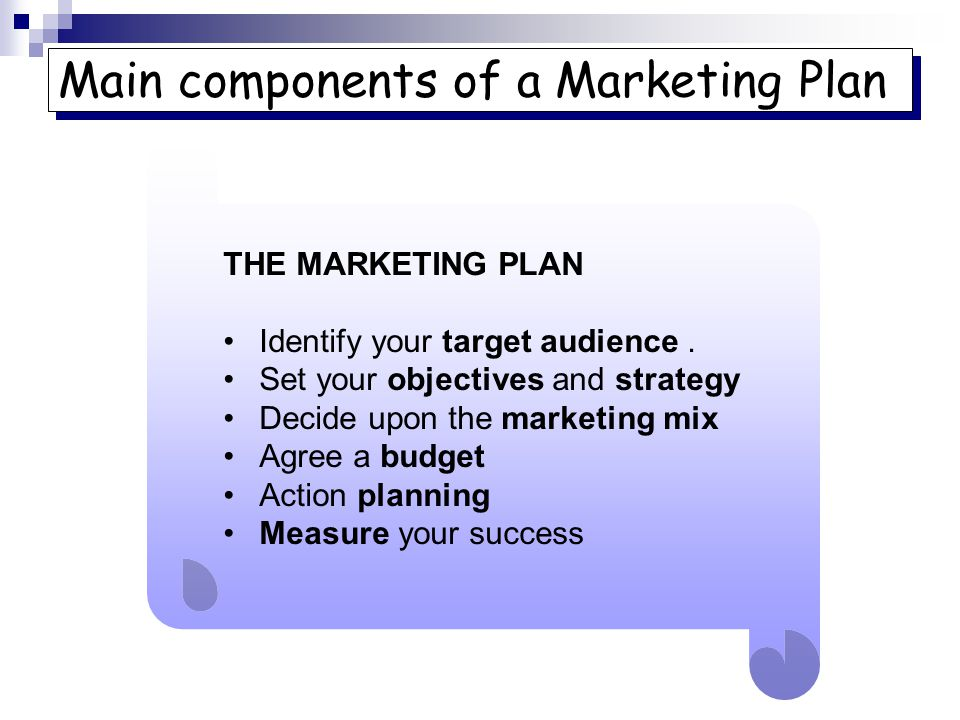 component of marketinf plan What is a marketing plan and why is it so essential to the success of your business find out here, in the first section of our comprehensive guide to creating a marketing plan.