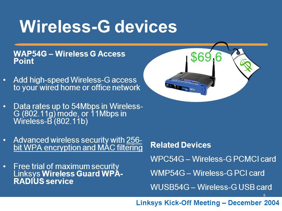 Wireless-G devices $69.6 WAP54G – Wireless G Access Point