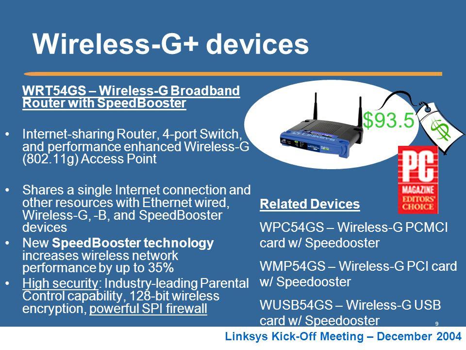 Wireless-G+ devices WRT54GS – Wireless-G Broadband Router with SpeedBooster.