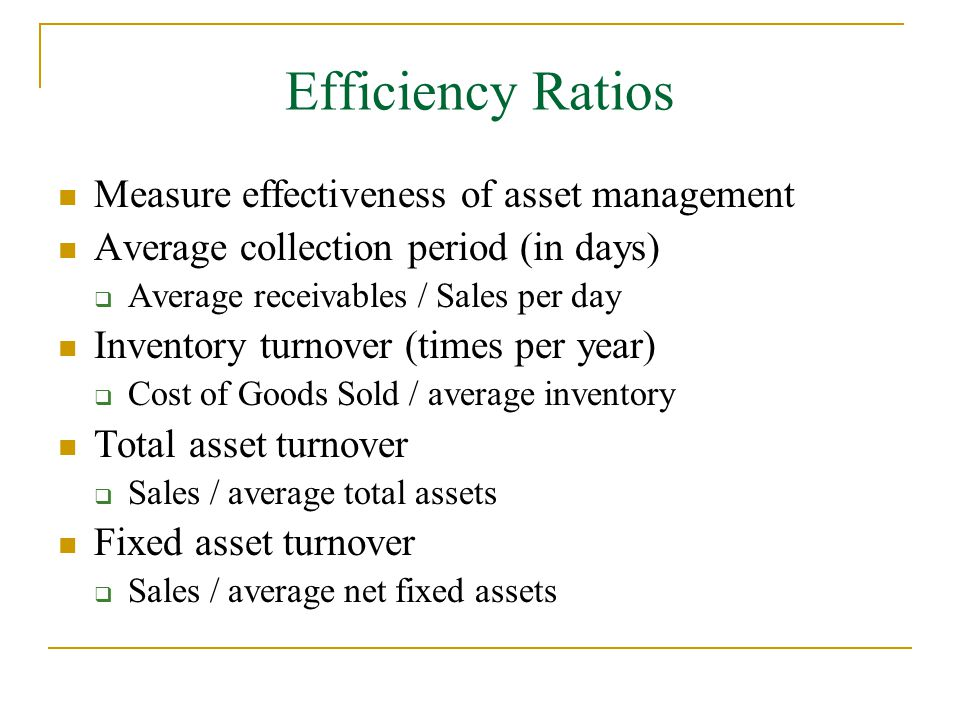 asset efficiency ratio analysis A comparative analysis of the financial ratios of listed firms belonging to financial ratio analysis specific assets and the efficiency of managing assets.