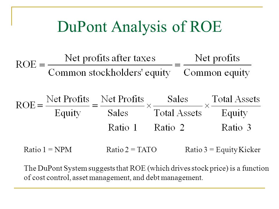 analysis of financial ratios using dupont model Dupont equation tutorial roe  the very basics and the very essence of financial ratio analysis  the 3-part version of the dupont analysis shows you .