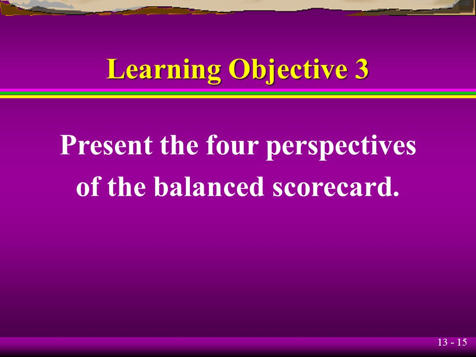 Present the four perspectives of the balanced scorecard.