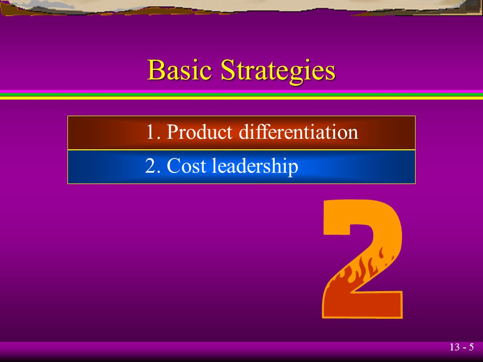 Basic Strategies 1. Product differentiation 2. Cost leadership
