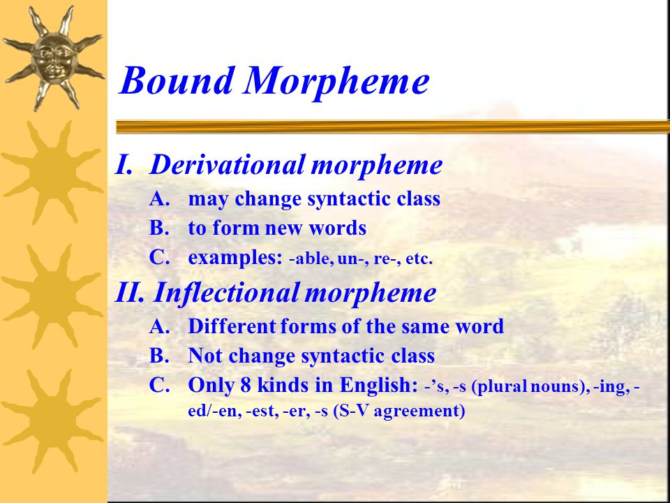 Bound Morpheme I. Derivational morpheme II. Inflectional morpheme