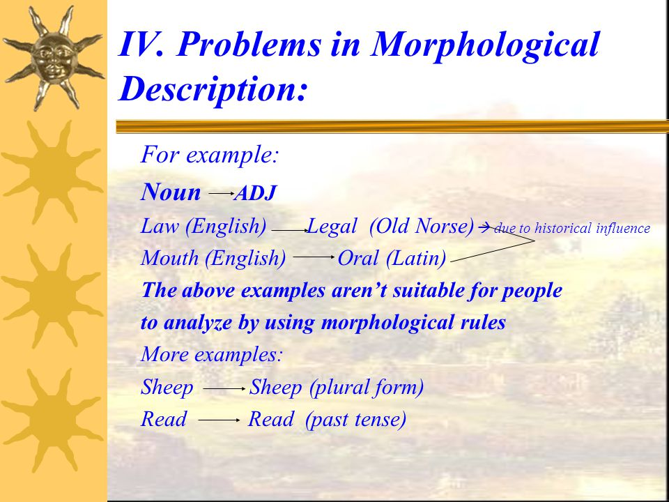 IV. Problems in Morphological Description: