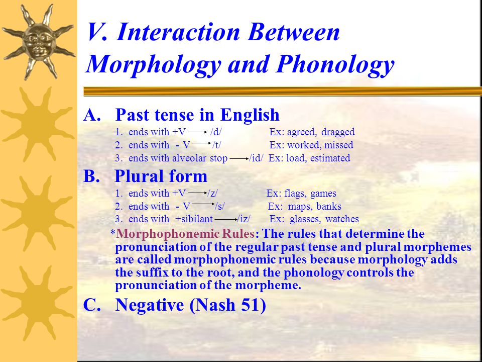 V. Interaction Between Morphology and Phonology