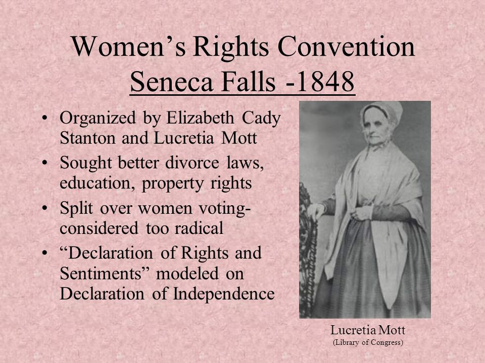 an analysis of the womens right to vote and the seneca falls convention by elizabeth cady stanton an Woman's rights convention, held at seneca falls, 19-20 july 1848  to the  declaration was discussed in an animated manner: a vote in favor was   prepared for the selected papers of elizabeth cady stanton and susan b  anthony, vol.