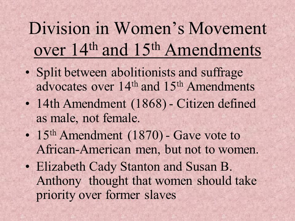 Division in Women's Movement over 14th and 15th Amendments
