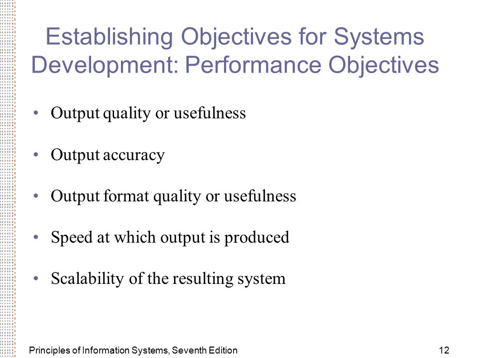 Establishing Objectives for Systems Development: Performance Objectives