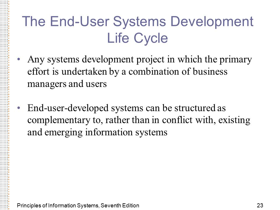 The End-User Systems Development Life Cycle