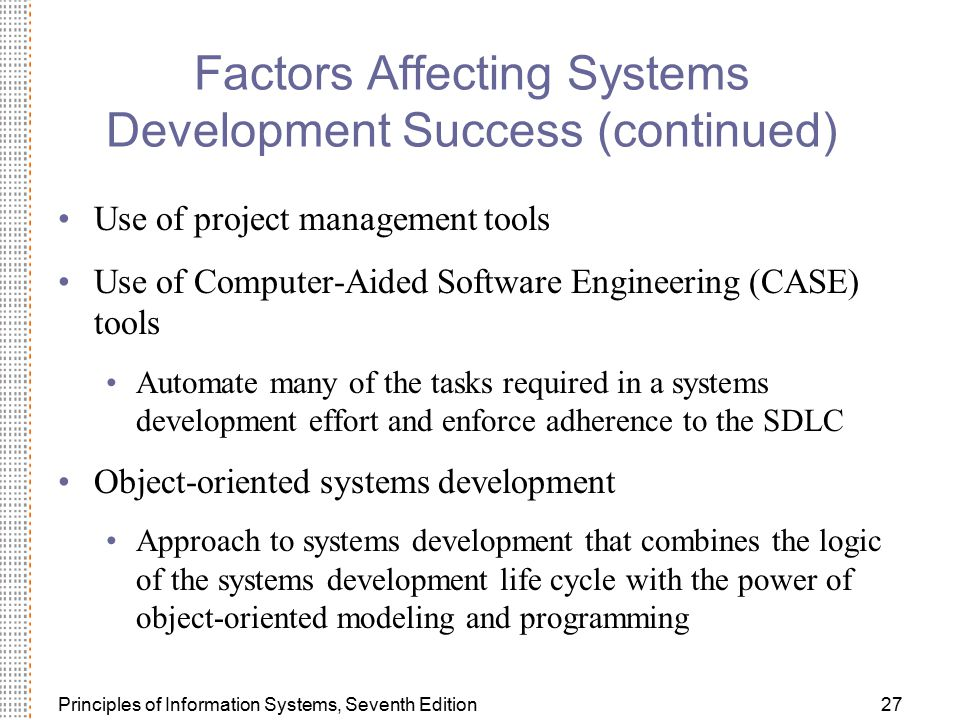 Factors Affecting Systems Development Success (continued)