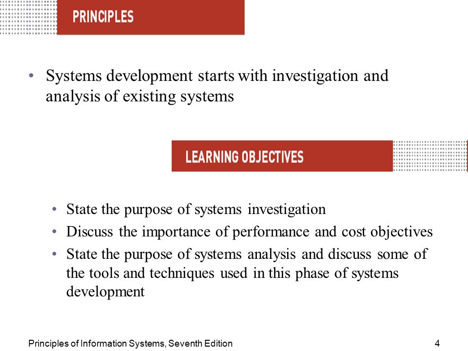 Systems development starts with investigation and analysis of existing systems