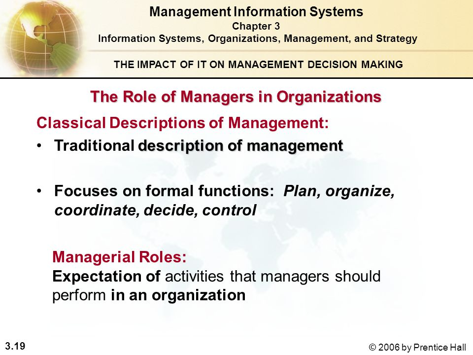 role of a manager in an organization In the past, the hr manager played a small role in the organization, but as the  position becomes more strategic, managers in hr have played an important part .