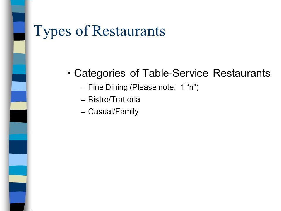 fine dining proper table service. types of restaurants categories table-service fine dining proper table service p