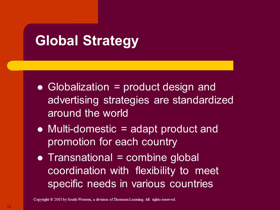 Global Strategy Globalization = product design and advertising strategies are standardized around the world.