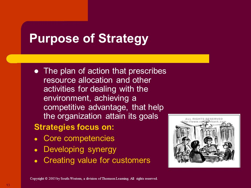 Purpose of Strategy