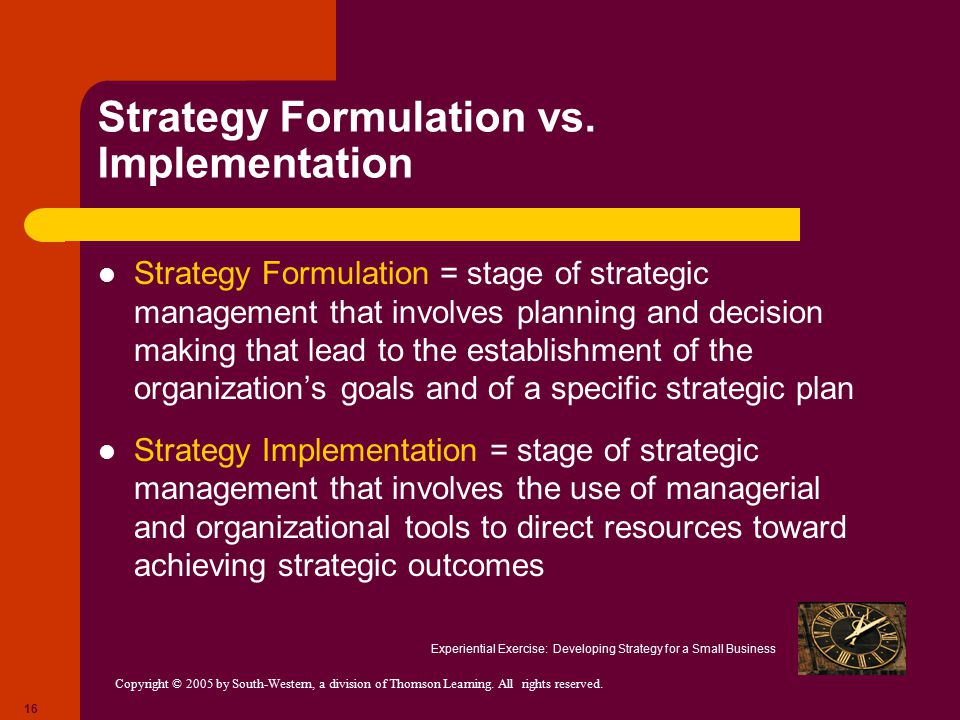 Strategy Formulation vs. Implementation