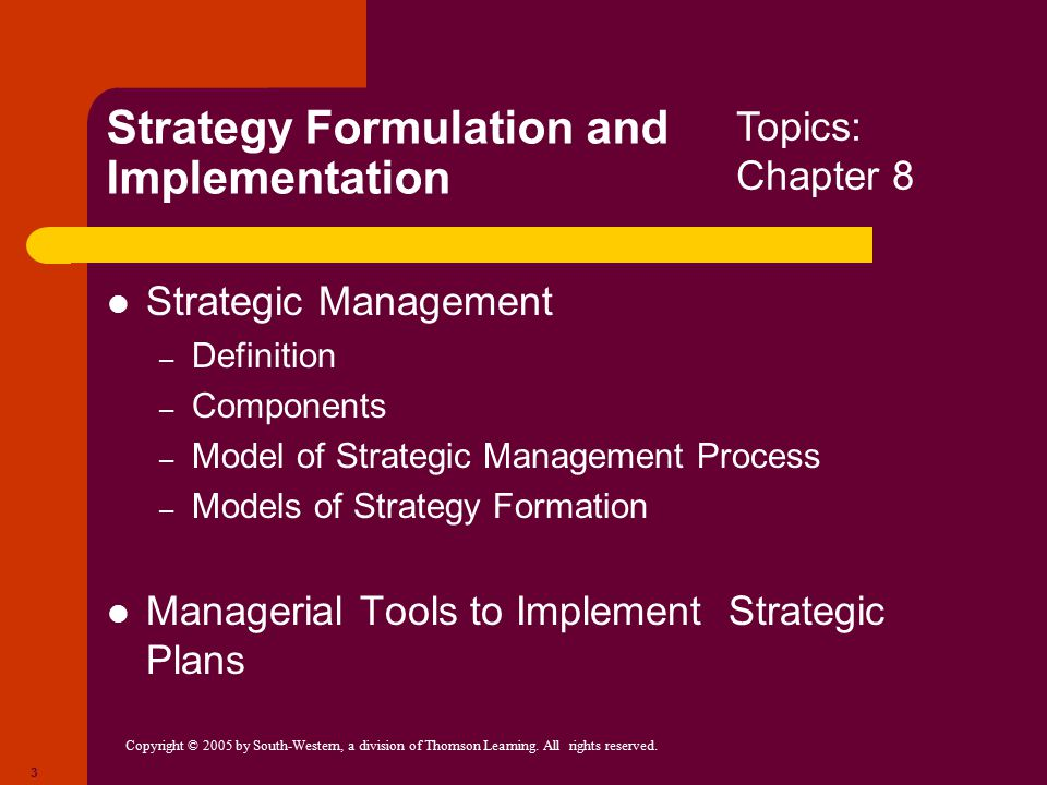 strategy formulation implementation The three processes of strategy this three-step strategy formulation process is sometimes referred to as determining where you / strategy implementation /.