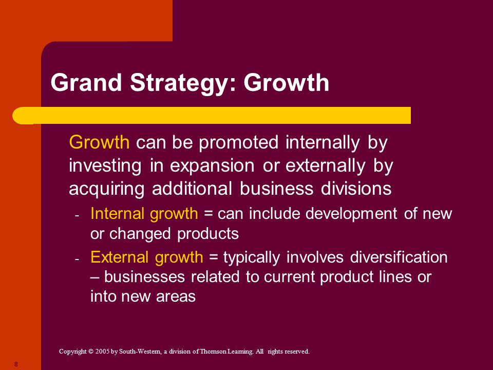 developing grand strategies Start studying management chapter 6: strategic management learn vocabulary, terms, and more with flashcards establish the grand strategy, formulate the strategic plans, carry out those plans, and maintain strategic control to develop a grand strategy.