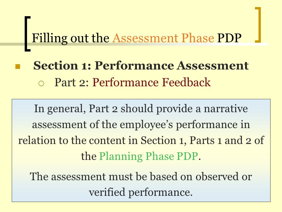 Filling out the Assessment Phase PDP