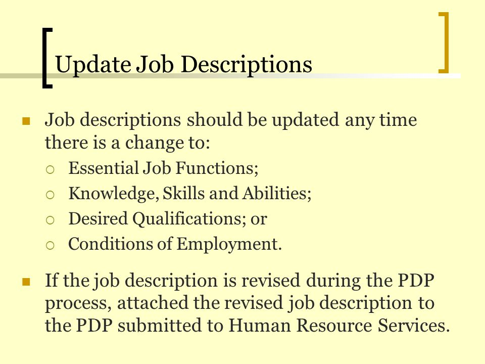 Update Job Descriptions