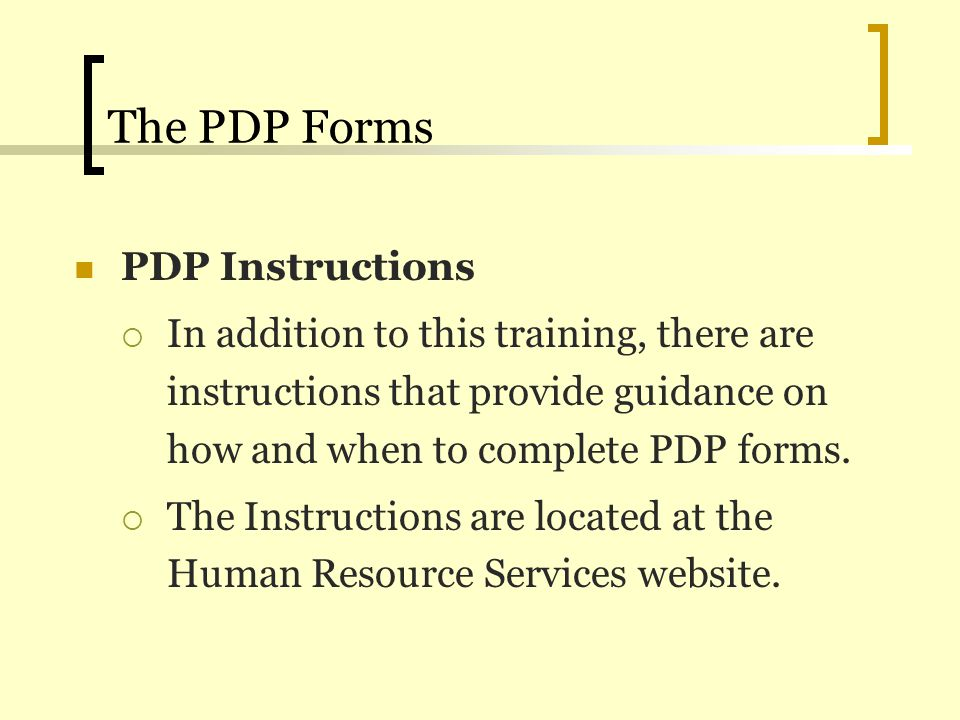 The PDP Forms PDP Instructions