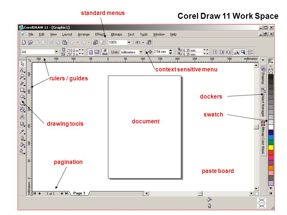 Corel Draw 11 Work Space standard menus context sensitive menu