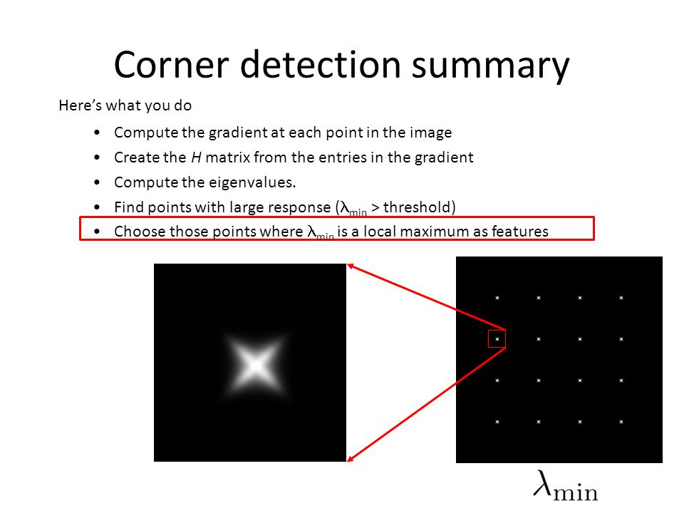 Corner detection summary