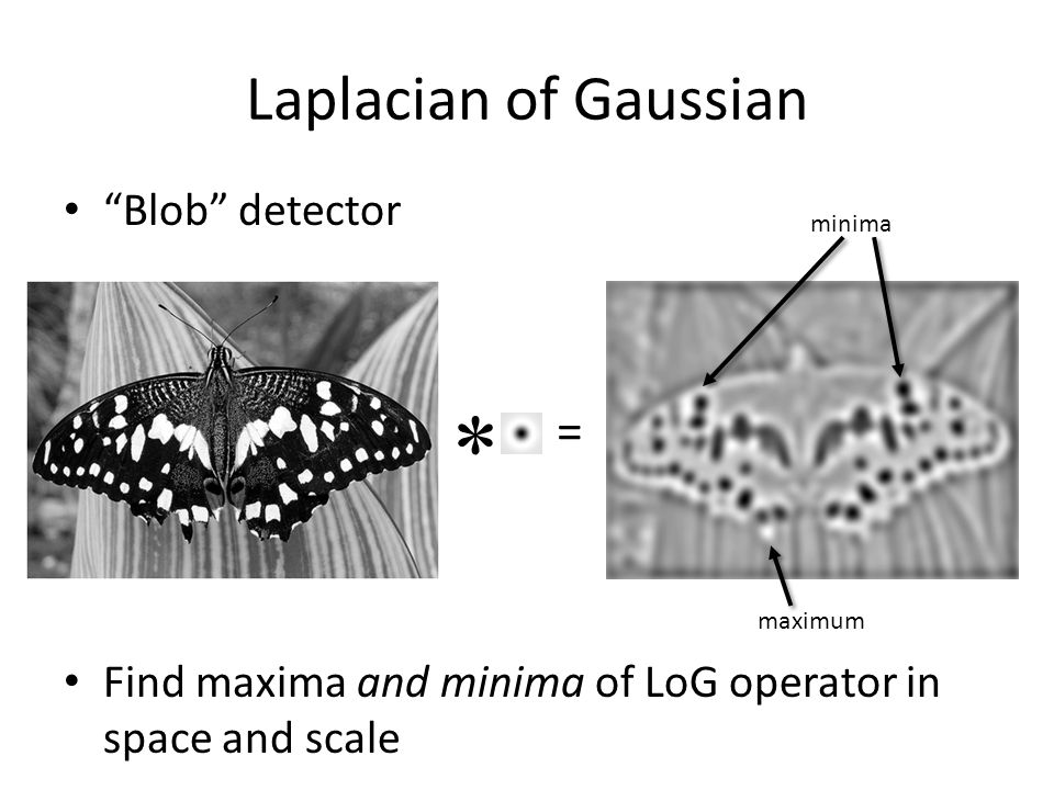 * Laplacian of Gaussian = Blob detector
