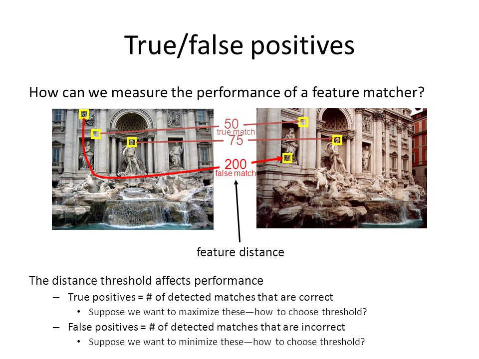True/false positives How can we measure the performance of a feature matcher The distance threshold affects performance.