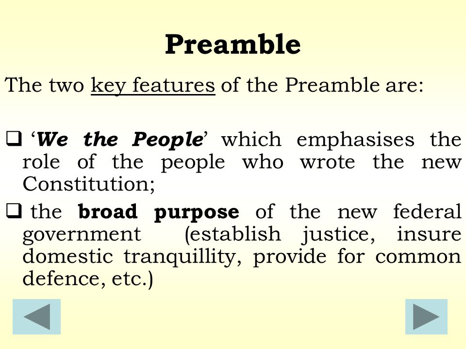 purpose of the preamble The preamble sets the stage for the constitution (archivesgov) it clearly communicates the intentions of the framers and the purpose of the document the preamble is an introduction to the highest law of the land it is not the law.