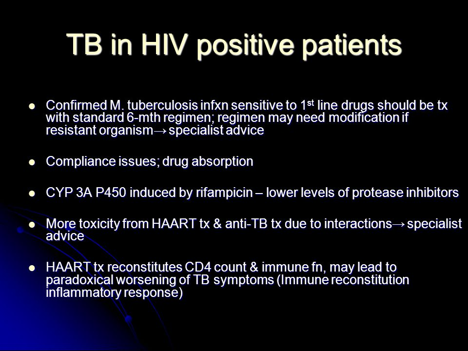 tb patient hiv Guidelines – treatment of tuberculosis in patients with hiv co -infection version 30 - 1 - co-infection with tuberculosis (tb) and hiv is common in many parts of the world.