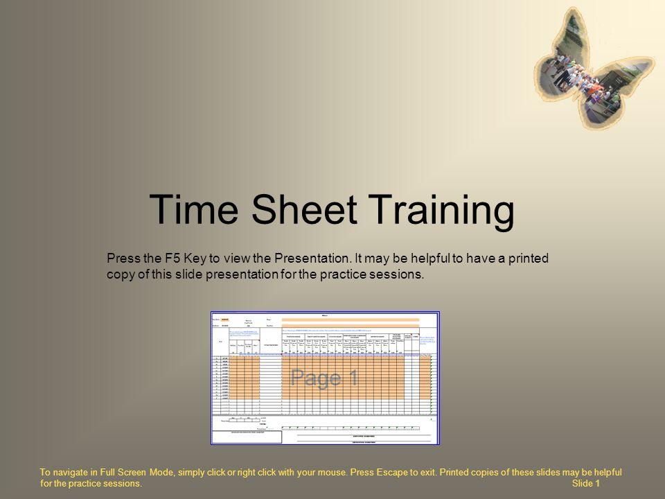 Time Sheet Training