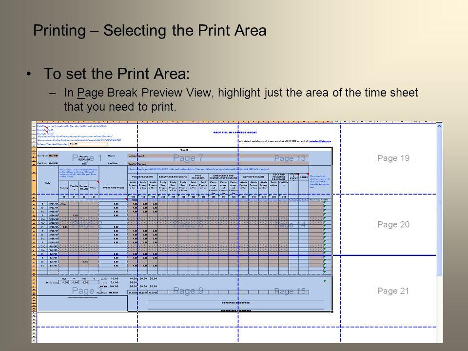 Printing – Selecting the Print Area